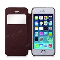 MOMAX Smart Window View Flip PU Leather Cover Protective Case For iPhone 5S - BLUENYLEDIRECT