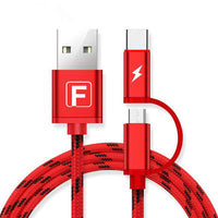 2 in 1 Type-C Micro USB Fast Charging Cable 1M For OnePlus 5 S8 Xiaomi 6 Redmi Note 4 - BLUENYLEDIRECT