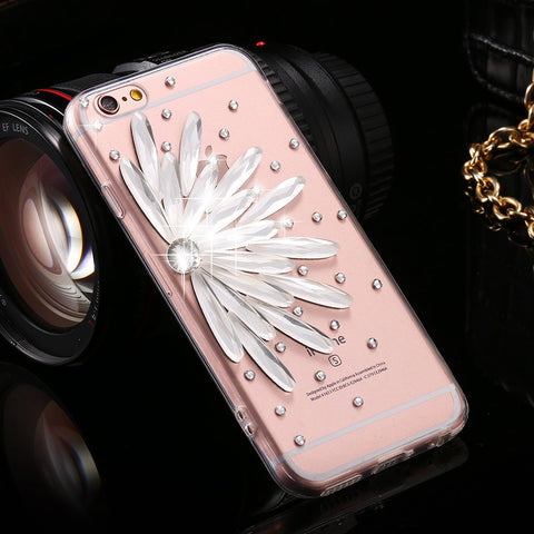 i6 6S Plus Clear Cover Bling Diamond Flower Rhinestone Case For iPhone 6 6S 4.7 For iPhone 6+ 6S Plus Fashion Accessories Coque - BLUENYLEDIRECT