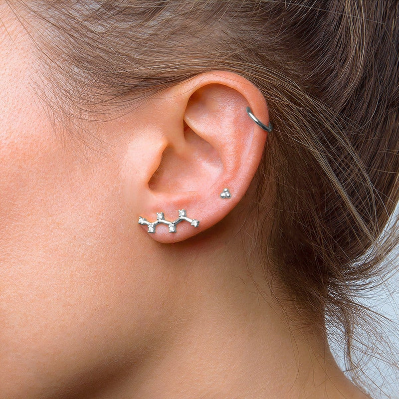 Climber Stylish Zirconia Silver Earring