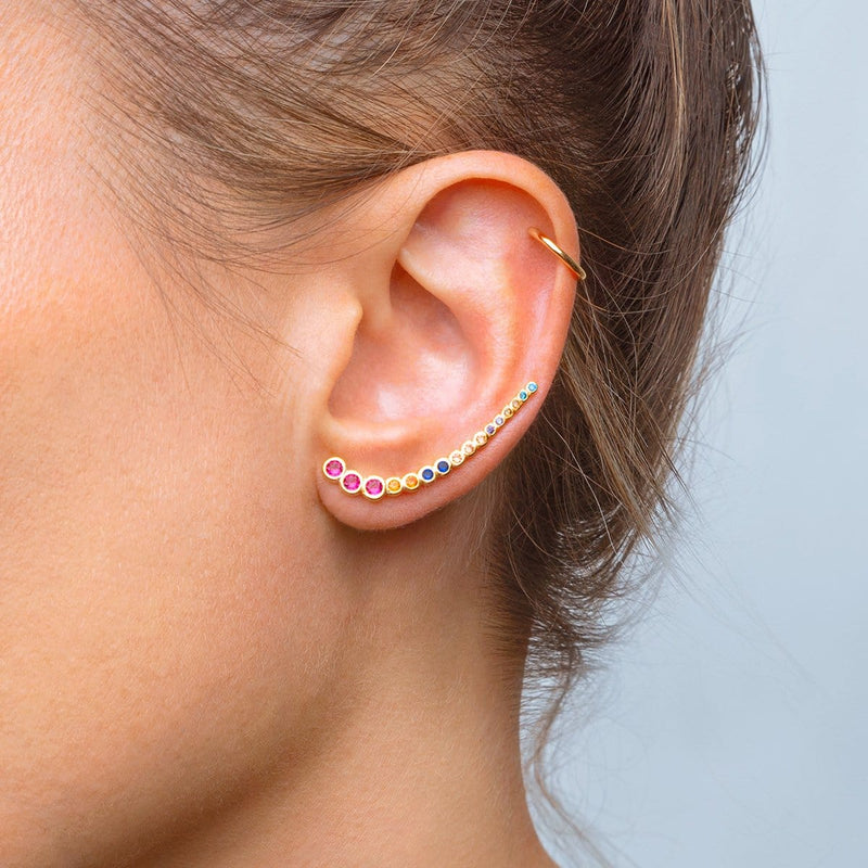 Climber Multicolor Zirconia Gold Earring