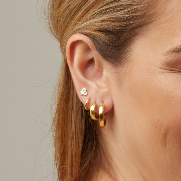 Mini Shallow Hoop Earrings Gold