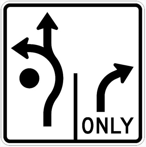 Roundabout Left Forward and Right Turn Only Sign R3-8