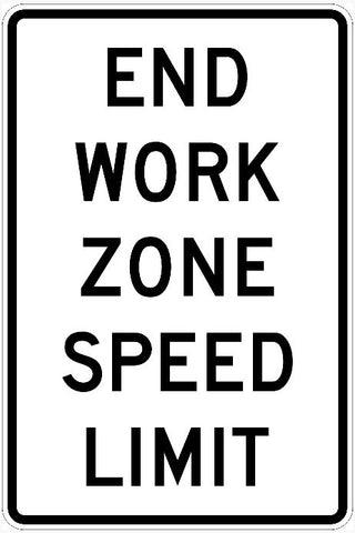 End Work Zone Speed Limit Sign R2-12