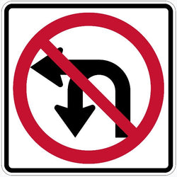 No Left Turn No U Turn Symbol Sign R3-18
