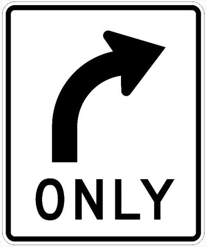 Right Only Sign R3-5R