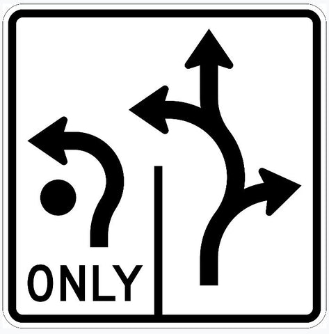 Roundabout Left Turn Only Sign R3-8