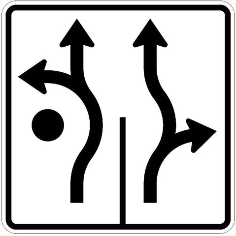 Roundabout Left Forward and Forward Right Sign R3-8