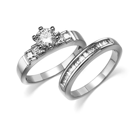 Round, Six-Prong, Square Accents, Bridal Set