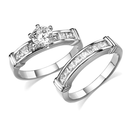 Round, Six-Prong, Channel Set Square Accents, Bridal Set