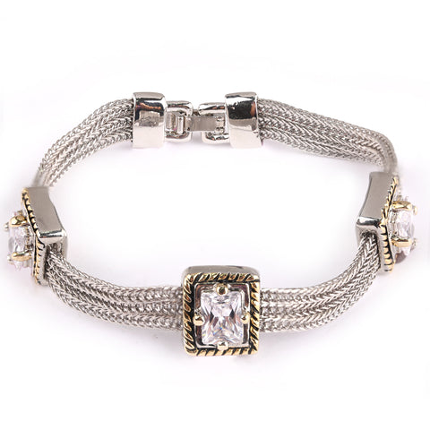 Three Rectangles Multi-Chain Push Clasp Bracelet