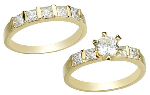 Round, Six-Prong, Bridal Set