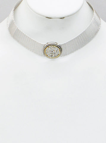 Pavé Circle Two-Tone Mesh Choker