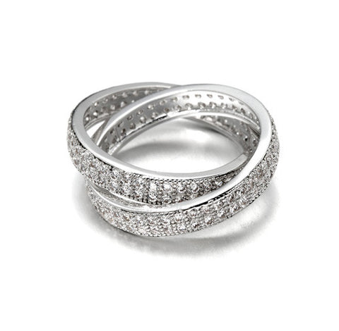 Pavé Interlocking Rolling,Two-Row, Eternity Band