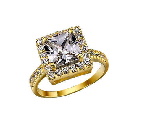 Square, Four-Prong, Halo, Pavé Side Stones