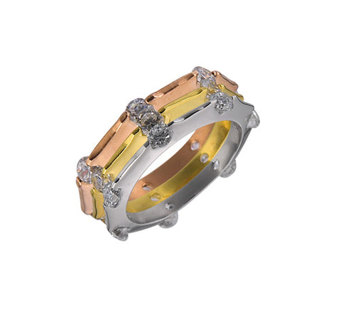 Eternity Band, Tri-Tone Gold, Stackable