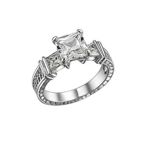 Square, Four-Prong, Square Accents, Engraved Band