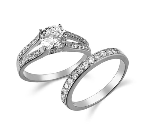 Round, Four-Prong, Pavé Side Stones, Split Shank, Bridal Set