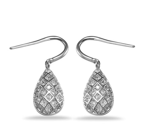 Pavé Teardrop Drop Earrings