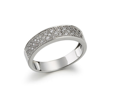 Pavé, Three Row, Wide Band