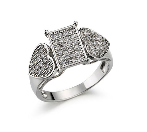 Pavé, Composite Rectangle, Accent Hearts, Split Band