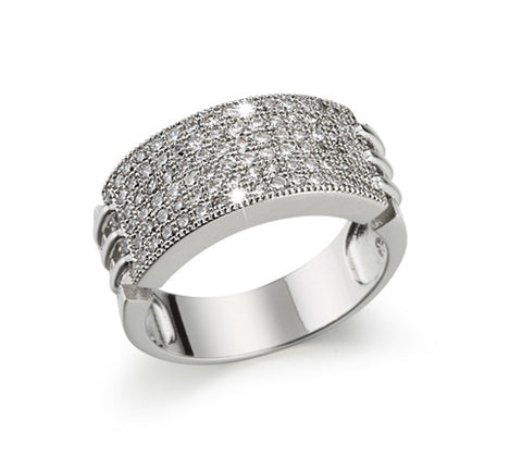 Pavé Six Row, Six-Prong, Wide Band