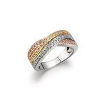 Layered Crossover, Three Row, Wide Band Tri-Tone-Gold