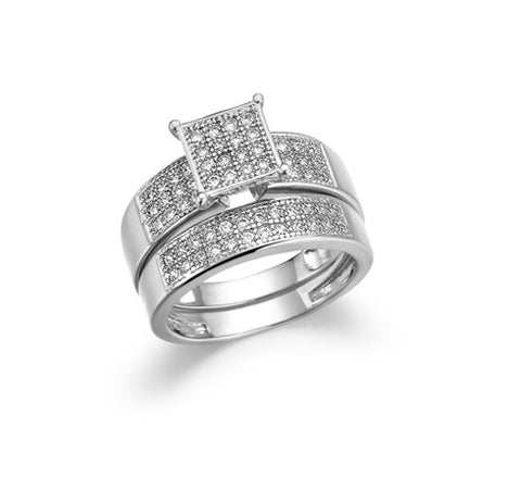 Composite Square, Three-Row, Wide-Band, Bridal Set