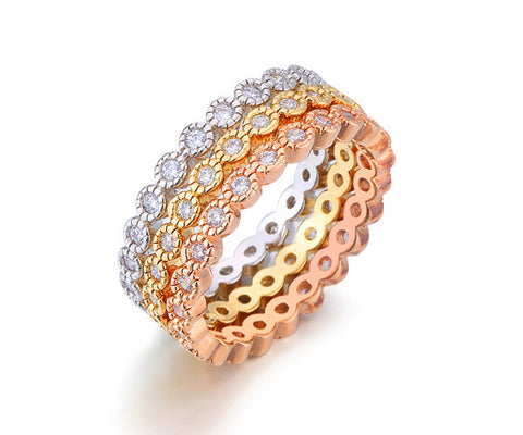 Bezel, Eternity Band, Tri-Tone Gold, Stackable