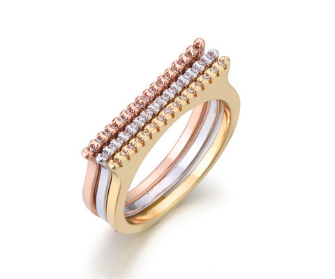 Single Row, Thin Band, Tri-Tone Gold, Stackable