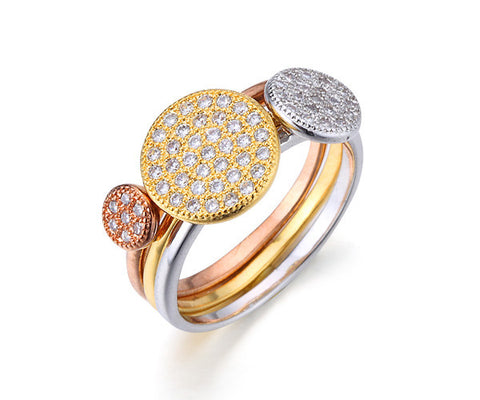 Pavé Tri-Disc, Tri-Tone Gold, Stackable