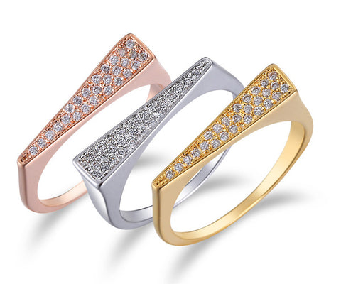 Pavé Triangle, Tri-Tone Gold, Stackable