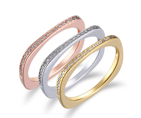 Square Band, Tri-Tone Gold, Stackable