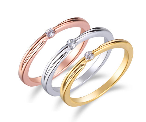 Solitaire, Tension, Tri-Tone Gold, Stackable