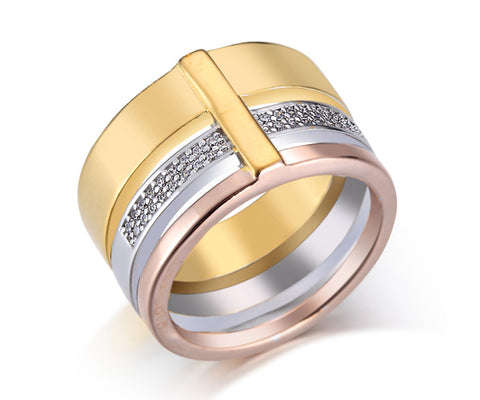 Wide Band, Tri-Tone Gold