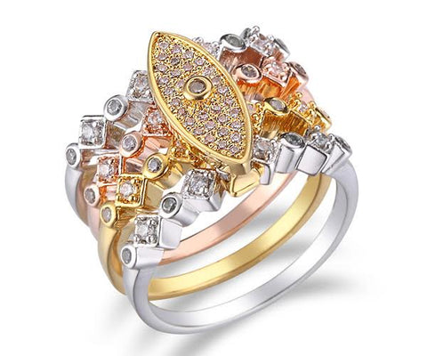Pavé Eye, Tri-Tone Gold, Stackable