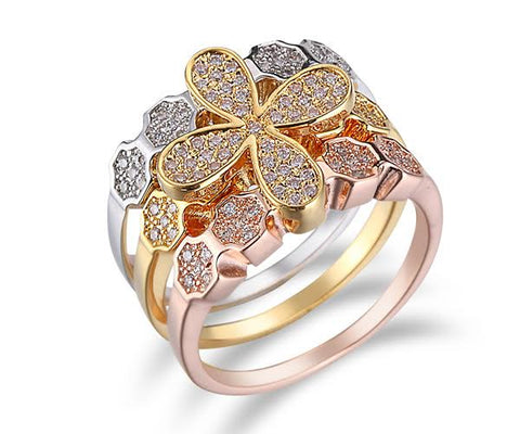 Pavé Four-Petal Flower, Tri-Tone Gold, Stackable