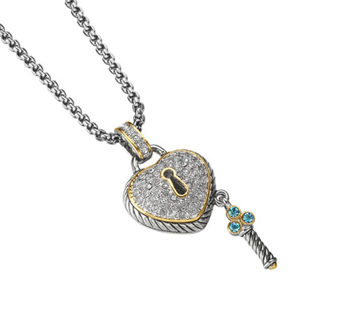 Pavé Heart Lock & Key Pendant