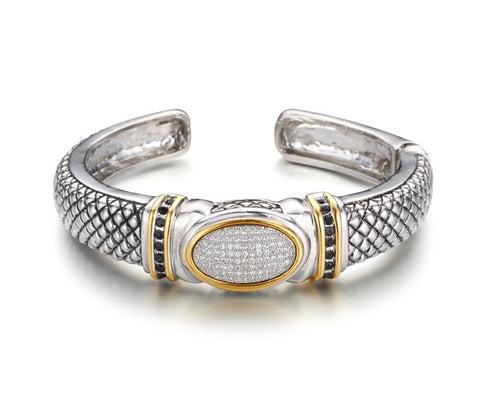 Pavé Oval Two-Tone Hinged Cuff