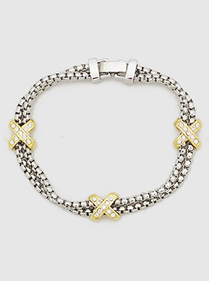 Gold Cross, Two-Strand, Box Chain Bracelet