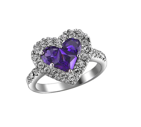 Amethyst Heart, Halo, Pavé Side Stones