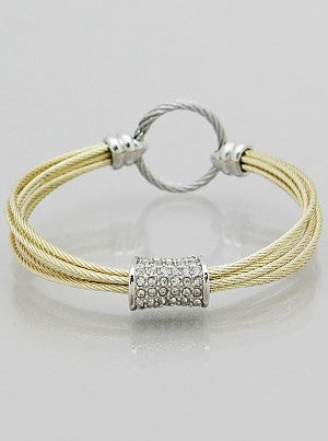 Multi-Strand Gold Cable Bangle