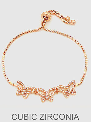 Rose Gold Pavé Butterfly Slider Bracelet