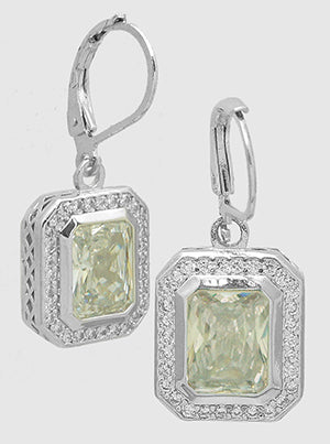 Emerald Cut Diamond Clear, Pavé Halo, Lever Back, Drop Earrings