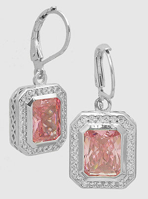 Emerald Cut Pink Sapphire, Pavé Halo, Lever Back, Drop Earrings