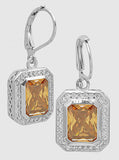 Emerald Cut Champagne, Pavé Halo, Lever Back, Drop Earrings