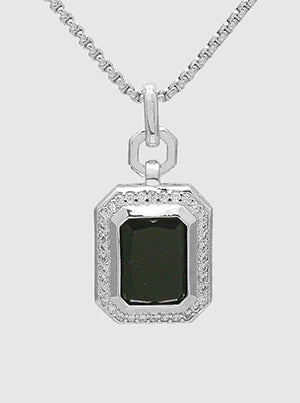 Emerald Cut Black Onyx, Pavé Halo, Pendant Necklace