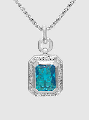 Emerald Cut Blue Topaz, Pavé Halo, Pendant Necklace