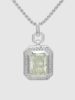 Emerald Cut Diamond Clear, Pavé Halo, Pendant Necklace