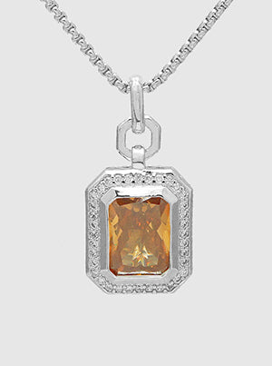 Emerald Cut Champagne, Pavé Halo, Pendant Necklace